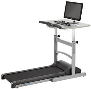 A treadmill workstation.